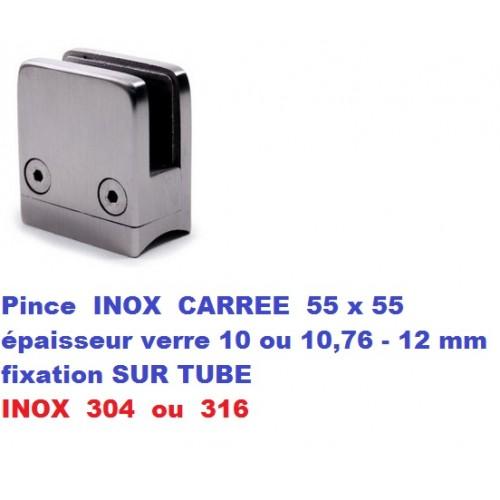 Pince verre CARREE INOX fixation SUR TUBE diam. 42,4