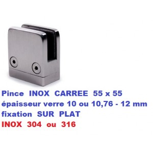 Pince verre CARREE INOX fixation SUR PLAT