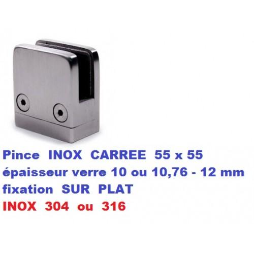 Pince verre CARREE INOX fixation SUR PLAT