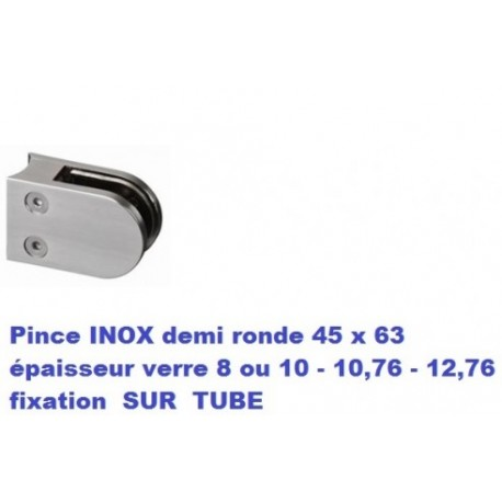 Pince verre INOX fixation SUR TUBE diam. 42.4