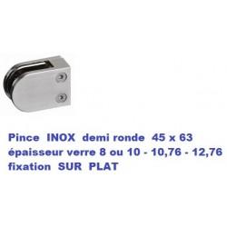 Pince verre INOX fixation SUR PLAT